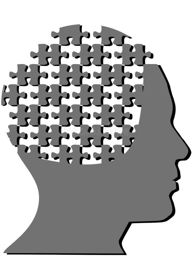 O enigma de serra de vaivém remenda como a cabeça da mente do homem do perfil ilustração royalty free