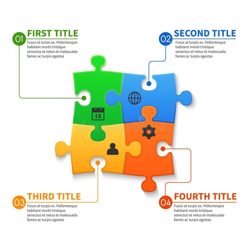 O enigma de serra de vaivém remenda o conceito infographic do negócio do vetor ilustração royalty free