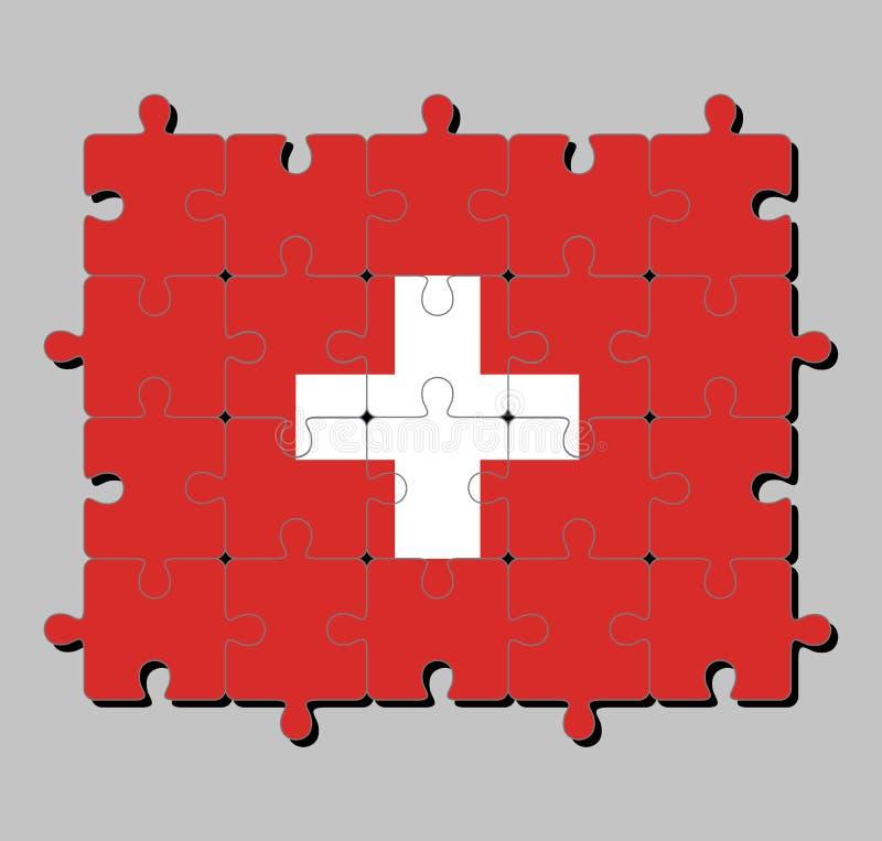 O enigma de serra de vaivém da bandeira de Suíça consiste dentro em uma bandeira vermelha com uma cruz branca no centro ilustração royalty free