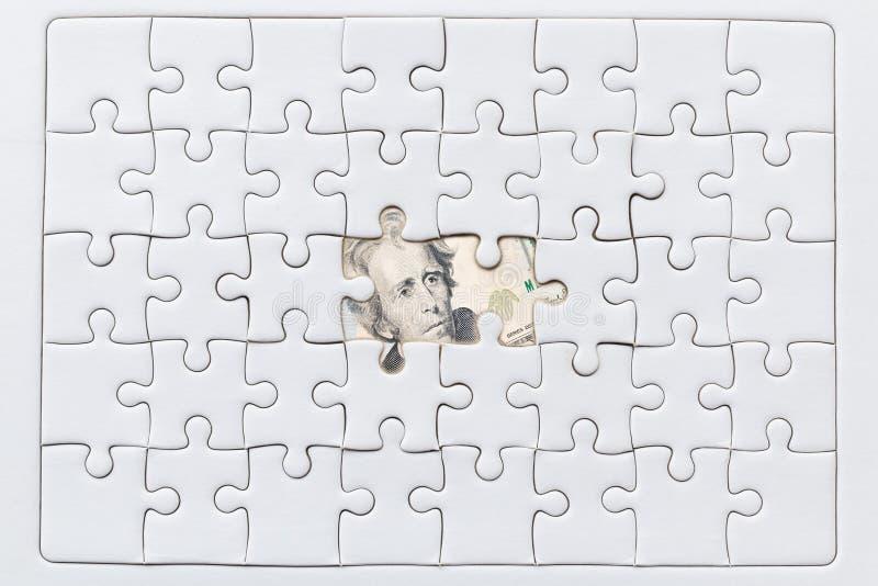 O enigma de serra de vaivém faltante remenda no fundo do dólar dos EUA ilustração do vetor