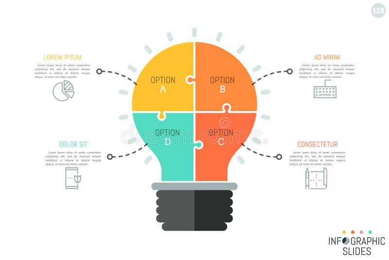 O enigma de serra de vaivém na forma da ampola dividiu-se em 4 partes Molde infographic mínimo do projeto Criação da ideia e ilustração stock