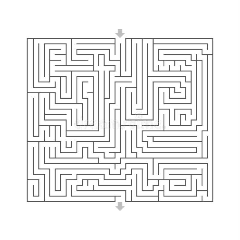 O enigma duro do projeto do labirinto com especifica o branco da entrada e da saída ilustração stock