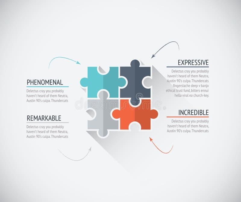 O enigma liso da cor quatro remenda a conexão do negócio ilustração do vetor