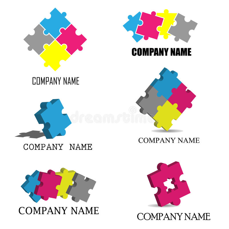 O enigma remenda logotipos ilustração stock