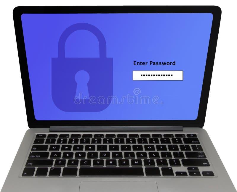 O ` entra na tela do portátil do ` da senha - conceito da proteção de dados imagem de stock royalty free