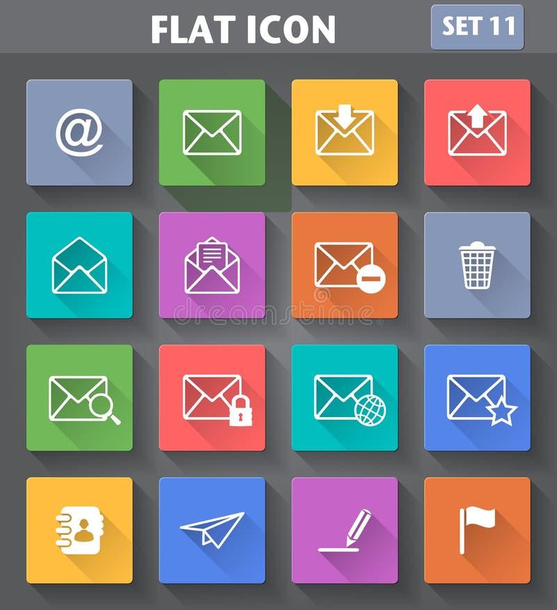 O envelope, ícones do email ajustou-se no estilo liso com por muito tempo ilustração royalty free