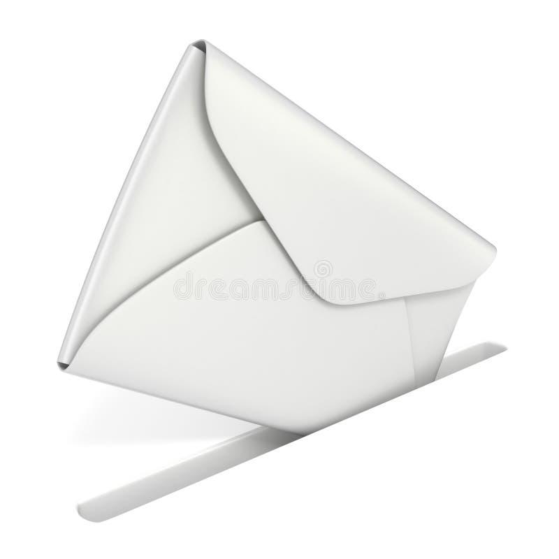 O envelope branco vazio cai no entalhe Enviando o conceito 3 do correio ilustração do vetor