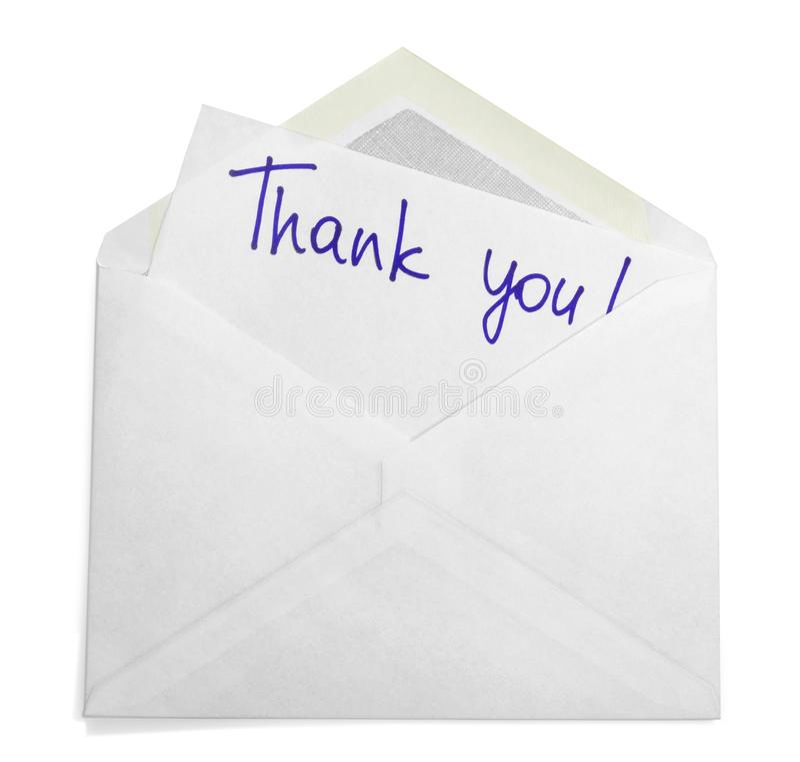 O envelope com agradece-lhe notar fotografia de stock royalty free