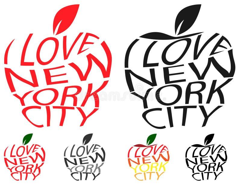 O envelope da tipografia distorce o texto que do vetor eu amo New York City na forma grande do sinal do símbolo de Apple Texto di ilustração stock