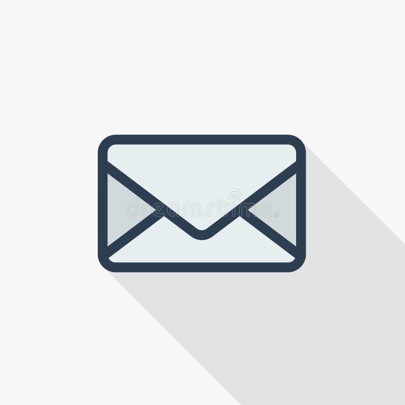 O envelope, letra do email, envia a linha fina ícone liso da cor Símbolo linear do vetor Projeto longo colorido da sombra ilustração stock