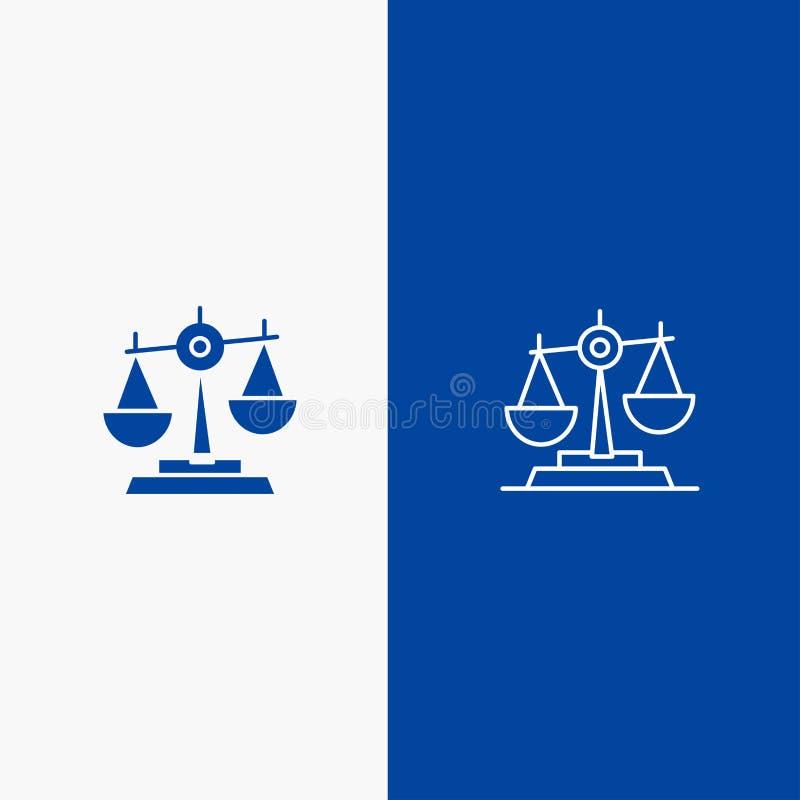 O equilíbrio, corte, juiz, justiça, lei, legal, escala, escala do ícone azul da linha e do Glyph de bandeira do ícone contínuo da ilustração stock
