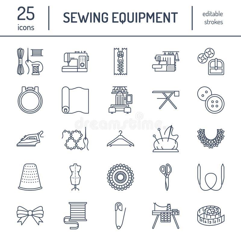 O equipamento da costura, alfaiate fornece a linha lisa ícones ajustados Acessórios do bordado - máquina do bordado da costura, p ilustração stock