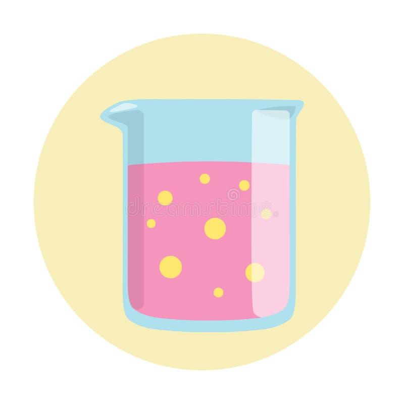 O equipamento de laboratório de vidro da taça tem o líquido roxo ilustração do vetor