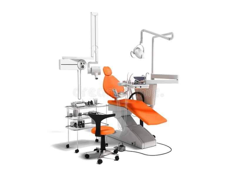 O equipamento dental alaranjado moderno para o tratamento dental 3d rende sobre fotografia de stock royalty free