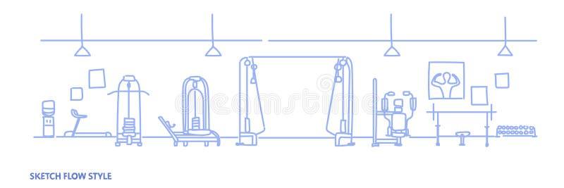 O equipamento interior do gym moderno para o exercício não esvazia nenhum estilo do fluxo do esboço do clube de aptidão da saúde  ilustração do vetor