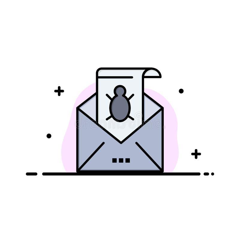 O erro, e-mail, e-mail, Malware, Spam, ameaça, linha lisa do negócio do vírus encheu o molde da bandeira do vetor do ícone ilustração do vetor