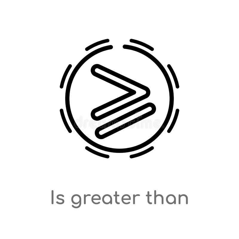 o esbo?o ? maior do que o ?cone do vetor linha simples preta isolada ilustra??o do elemento do conceito dos sinais r ilustração do vetor