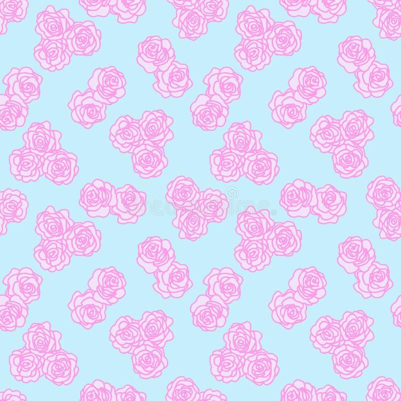 O esboço cor-de-rosa de uma flor no fundo sem emenda azul Textura do vintage Estilo retro Teste padr?o floral decorativo Molde do fotografia de stock