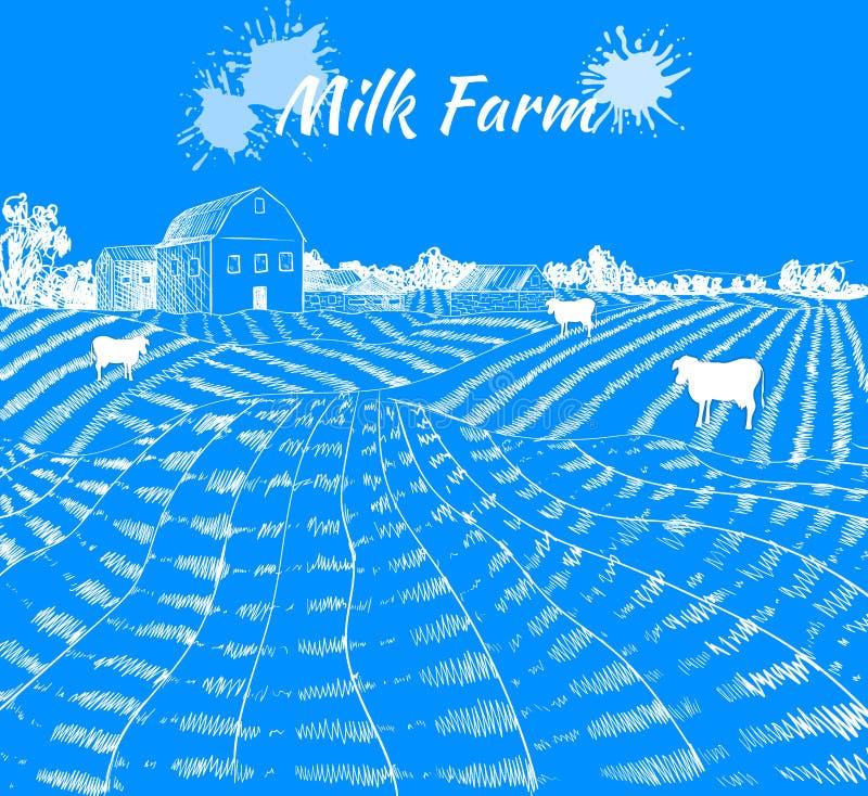 O esboço da exploração agrícola do leite do vetor com vacas, casa da exploração agrícola e leite espirra, ilustração tirada mão,  ilustração do vetor