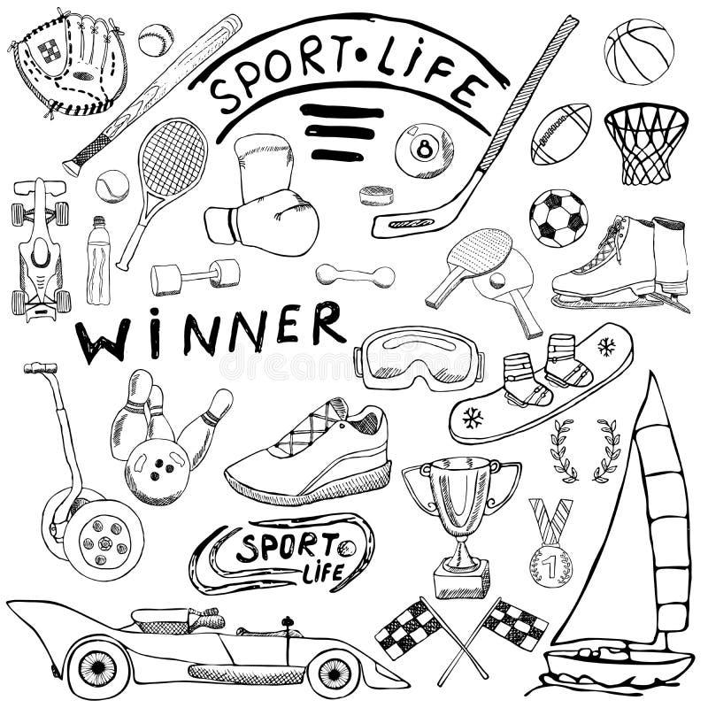 O esboço da vida do esporte rabisca elementos Grupo tirado mão com bastão de beisebol, luva, boliches, artigos do tênis do hóquei ilustração do vetor