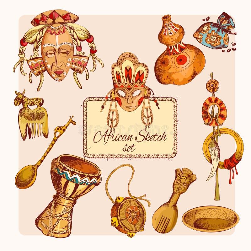 O esboço de África coloriu ícones ajustados ilustração royalty free