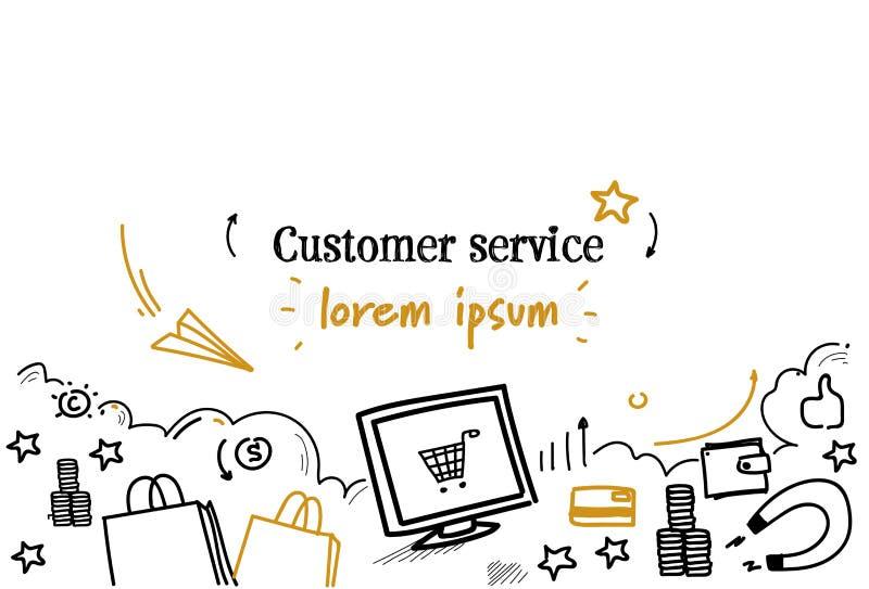 O esboço de compra em linha do conceito do serviço ao cliente rabisca o espaço isolado horizontal da cópia ilustração stock