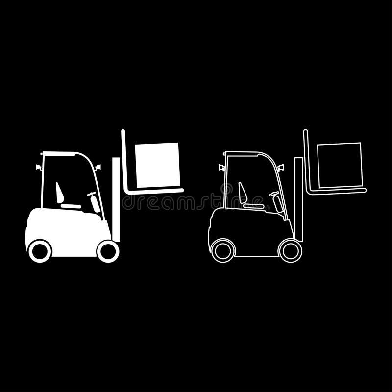 O esboço de levantamento do ícone do conceito do transporte da carga da máquina do elevador da carga da máquina do caminhão de em ilustração do vetor