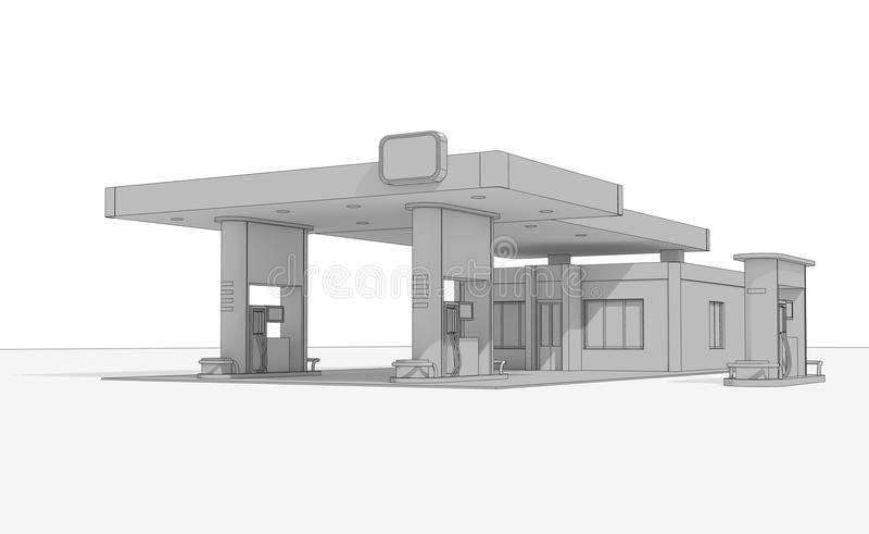 O esboço de um edifício de um posto de gasolina imagem de stock royalty free