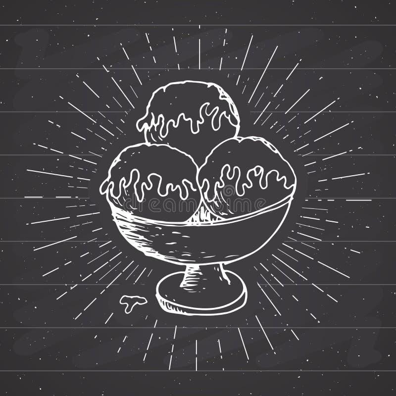 O esboço do gelado, etiqueta do vintage, grunge tirado mão textured o crachá, molde retro do logotipo, ilustração do vetor do pro ilustração do vetor