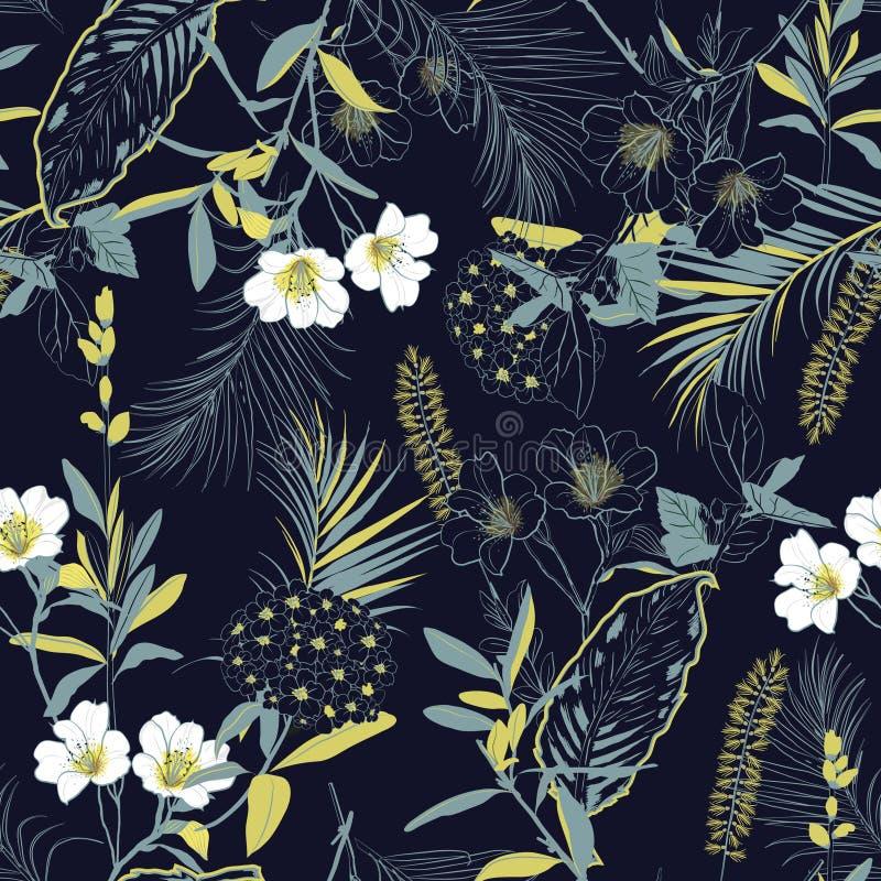 O esboço do jardim da floresta escura e a pintura de florescência da mão florescem o miliampère ilustração stock