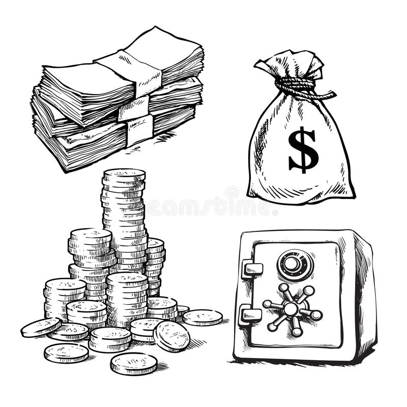 O esboço do papel moeda, pilha de moedas, saco de dólares, deposita o cofre forte Finança, grupo do vetor do dinheiro ilustração stock