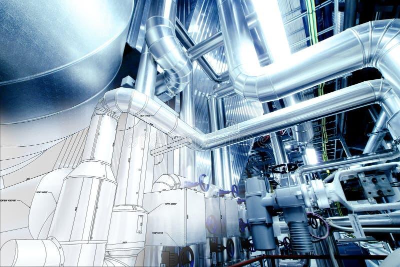 O esboço do projeto do encanamento misturou com as fotos do equipamento industrial ilustração do vetor