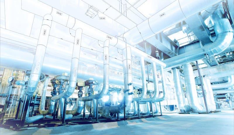 O esboço do projeto do encanamento misturou com a foto do equipamento industrial imagens de stock