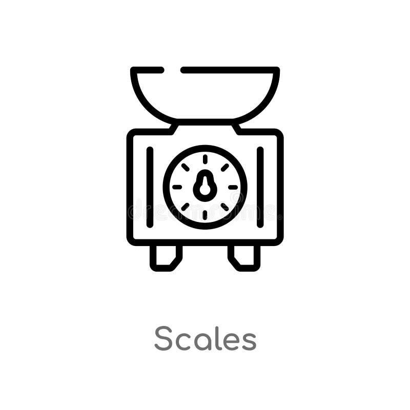 o esboço escala o ícone do vetor linha simples preta isolada ilustração do elemento do conceito da gastronomia escalas editáveis  ilustração stock