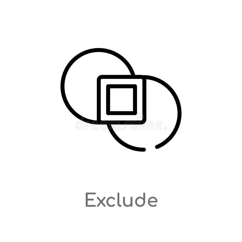 o esboço exclui o ícone do vetor linha simples preta isolada ilustra??o do elemento da figura geom?trica conceito Curso edit?vel  ilustração stock