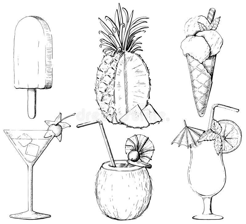 O esboço gráfico ajustou-se com três cocktail, dois tipos de gelado ilustração stock