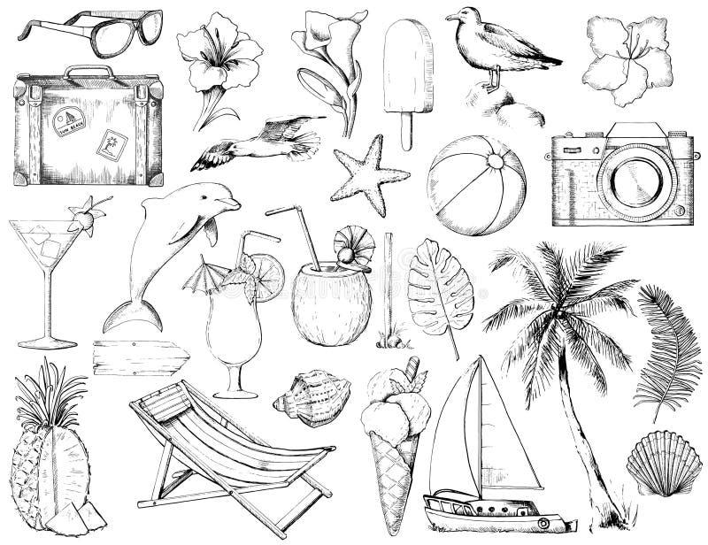 O esboço gráfico ajustou-se com vinte e seis objetos da praia do verão ilustração do vetor