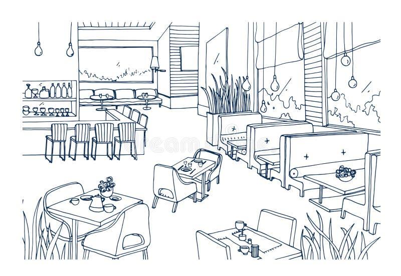 O esboço a mão livre do interior fornecido do restaurante extravagante ou os restaurantes entregam tirado com linhas de contorno  ilustração stock