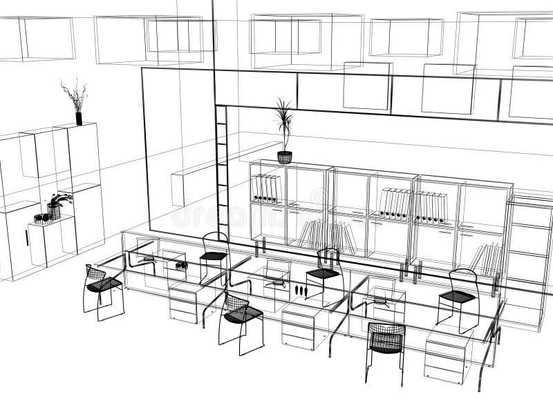 O esboço moderno do escritório ilustração royalty free