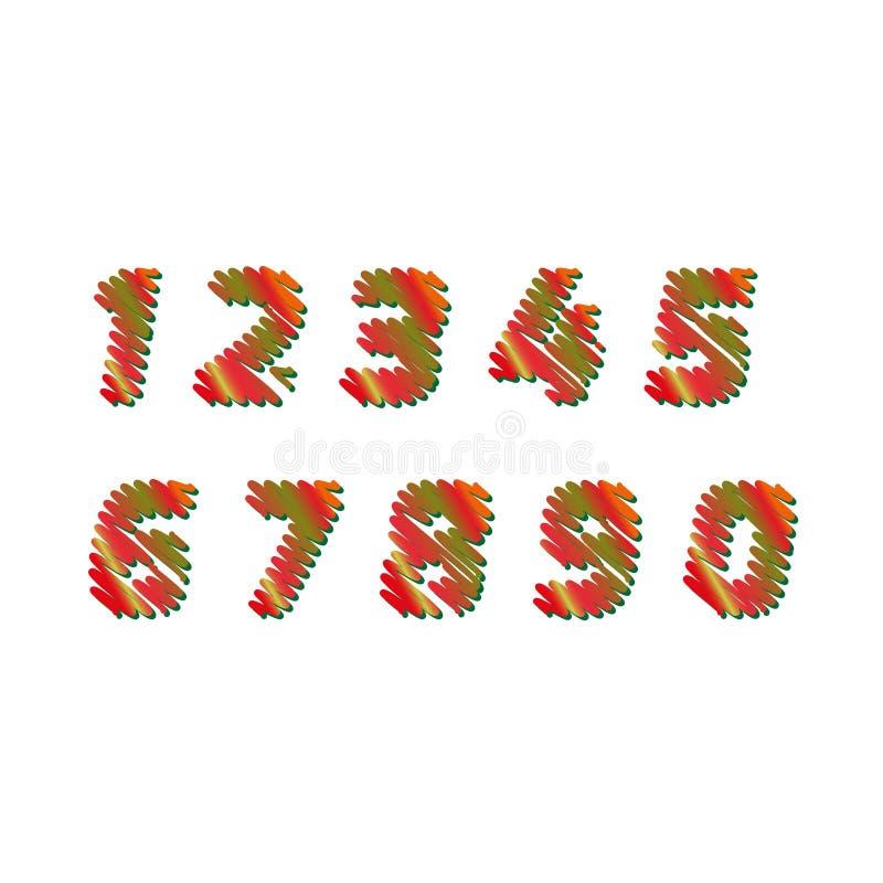 O esboço numera - as letras diferentes das cores são feitas como um garrancho Vector a coleção do conceito das fontes coloridas d ilustração do vetor