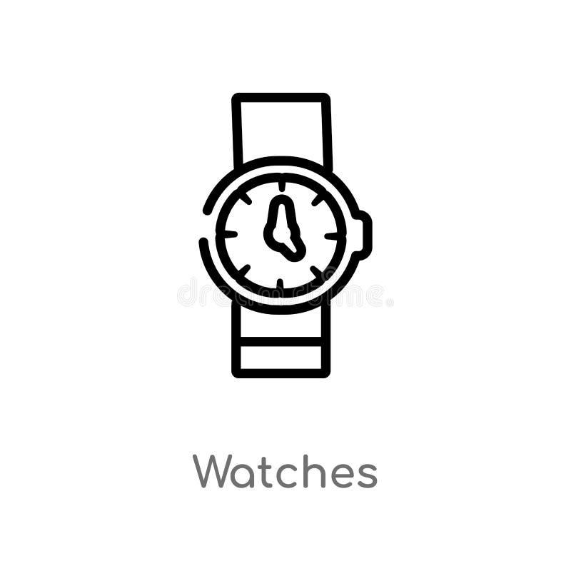 o esboço olha o ícone do vetor linha simples preta isolada ilustração do elemento do conceito do tempo livre Curso editável do ve ilustração do vetor