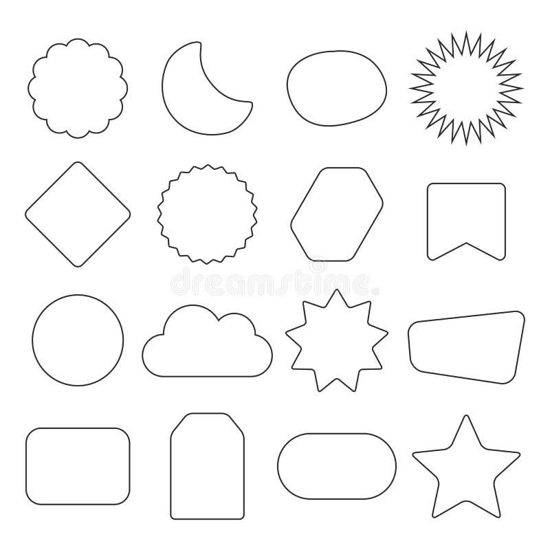 O esboço preto isolou os ícones vazios das etiquetas das formas diferentes das crianças ajustados no branco ilustração stock