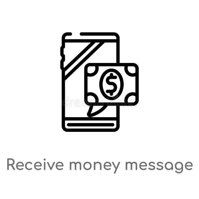 o esbo?o recebe o ?cone do vetor da mensagem do dinheiro linha simples preta isolada ilustra??o do elemento do conceito da tecnol ilustração royalty free