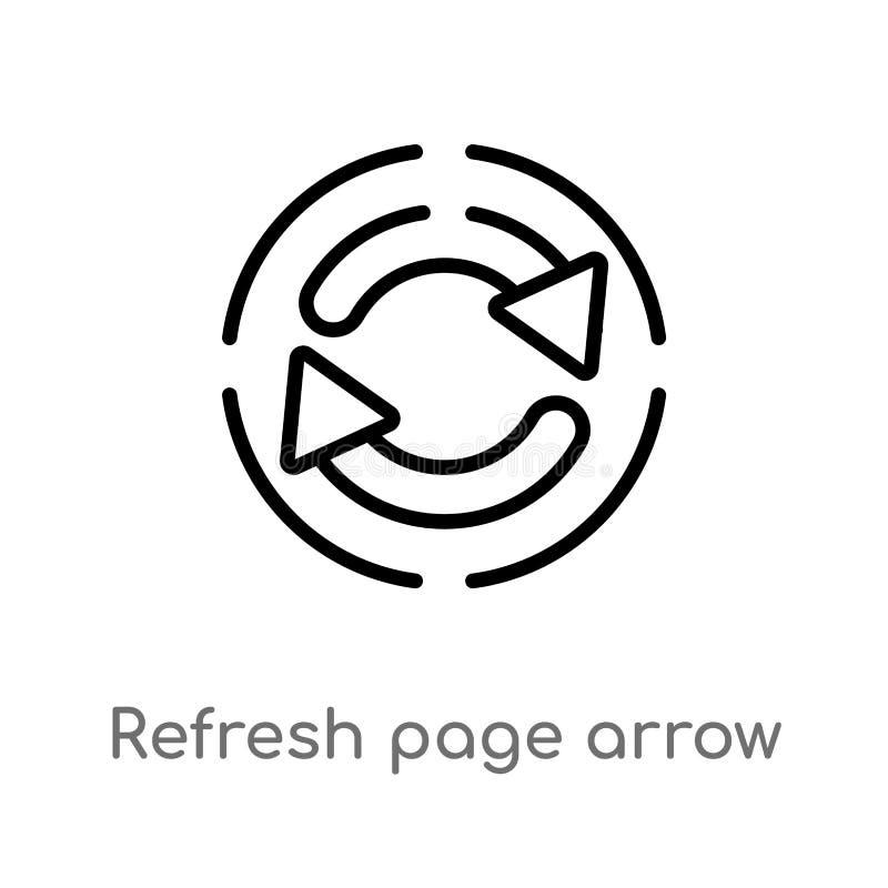 o esboço refresca o ícone do vetor do botão da seta da página linha simples preta isolada ilustração do elemento do conceito da i ilustração stock