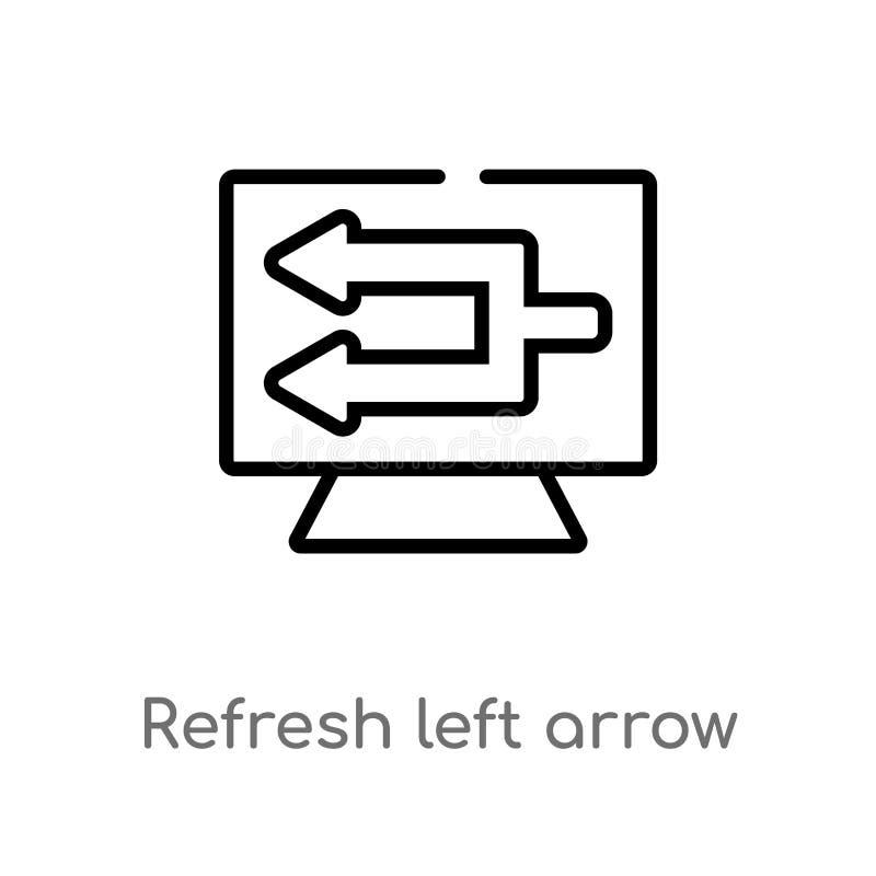 o esboço refresca o ícone do vetor da seta de esquerda linha simples preta isolada ilustração do elemento do conceito da interfac ilustração do vetor