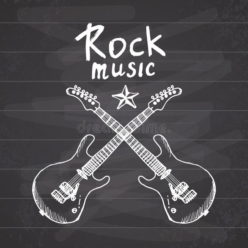 O esboço tirado mão da música rock crosed as guitarra, ilustração do vetor no quadro ilustração royalty free