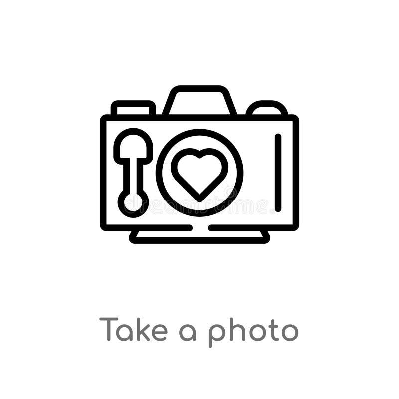 o esbo?o toma um ?cone do vetor da foto linha simples preta isolada ilustra??o do elemento do conceito do amor & do casamento Vet ilustração royalty free