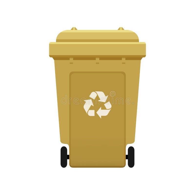 O escaninho, recicla o escaninho plástico do wheelie do ouro para o desperdício isolado no fundo branco, escaninho dourado com re ilustração royalty free