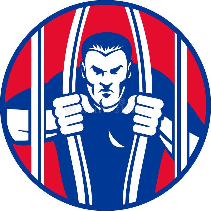 O escape do prisioneiro de Convict afiança para fora a cadeia da prisão ilustração royalty free