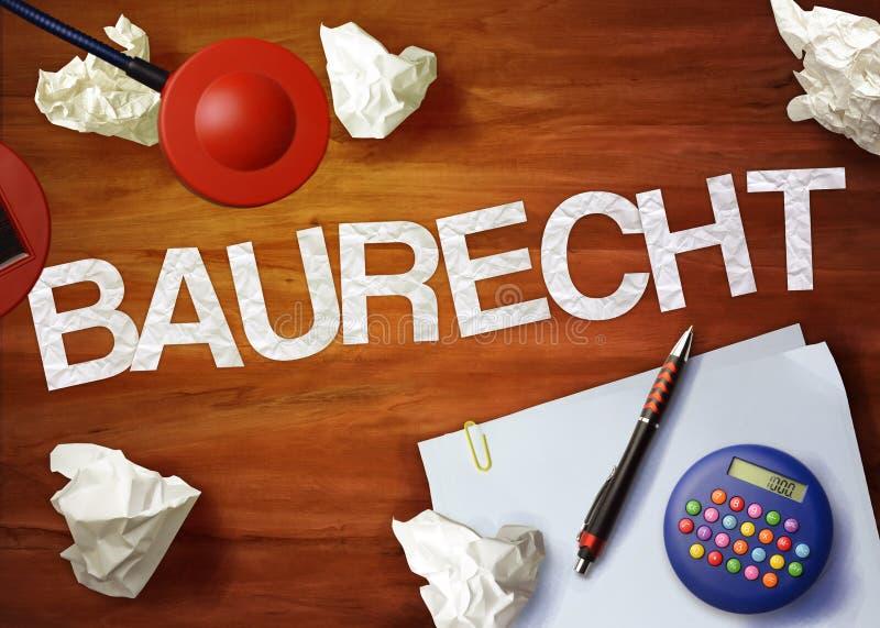 O escritório da calculadora do memorando do desktop de Baurecht pensa organiza imagem de stock
